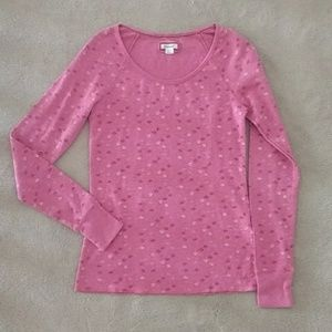 Like New Aerie Pink Snowflake Waffle Thermal Tee
